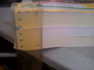 Yellow pages Stacked: top is this year, bottom is last year - from more than an inch to less than an inch now.